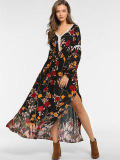 ZAFUL Floral Slit Tassel Long Sleeve Dress - Black L