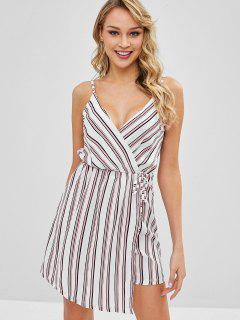 Overlay Striped Romper - White S