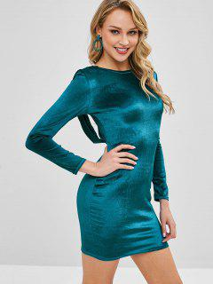 Cross Velvet Bodycon Mini Dress - Peacock Blue S