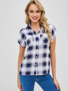 Cuffed Sleeves Buttoned Plaid Shirt - Blue M
