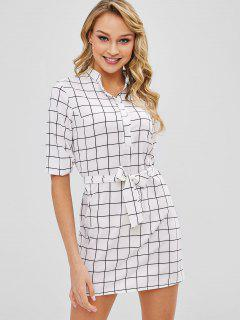 Plaid Half Button Belted Mini Dress - White S