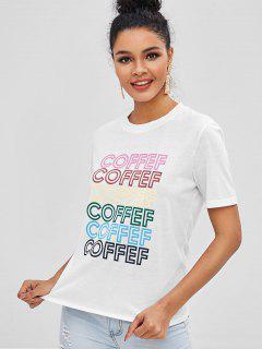 Camiseta Con Gráfico Coffef En Contraste - Blanco Xl