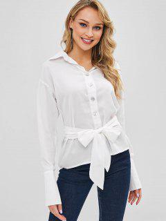 Chemise Boutonnée à Ceinture - Blanc Lait M