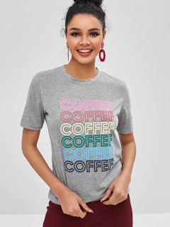 Camiseta Con Gráfico Coffef En Contraste - Gris L