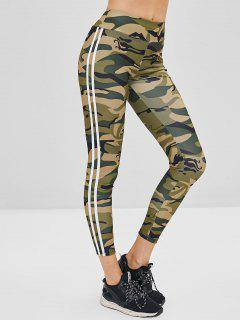 Striped Side Camouflage Leggings - Acu Camouflage L