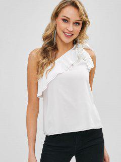 Ruffles Knotted One Shoulder Sleeveless Top - Milk White S