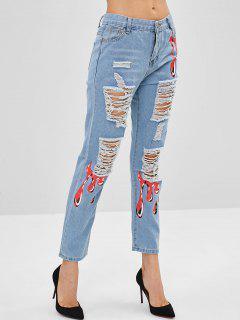 Graphic Destroyed Straight Jeans - Denim Blue S