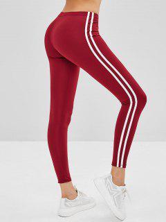 Striped Side Skinny Leggings - Red Wine Xl