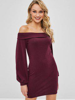 Off The Shoulder Foldover Mini Dress - Red Wine M