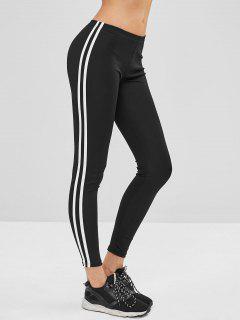 Striped Side Skinny Leggings - Black M