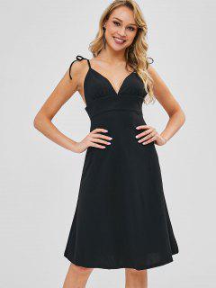 Tie Shoulder Cami Backless Knee Length Dress - Black L