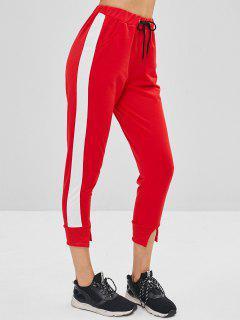 Slit Ankle Drawstring Jogger Pants - Red M