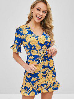 Floral Lace Up Ruffles Mini Dress - Multi Xl
