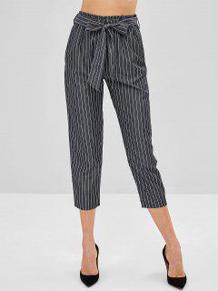 Pantalon Rayé Avec Ceinture - Gris Carbone L