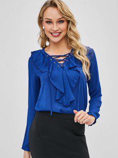 Blusa De Encaje Con Volantes - Azul Cobalto L