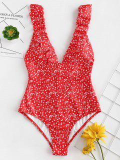 ZAFUL Ruffles Tiny Floral One Piece Swimsuit - Lava Red M