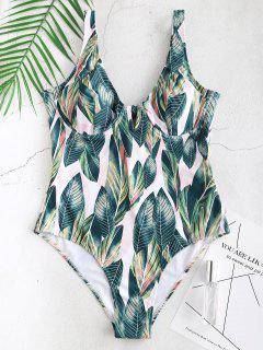 ZAFUL Leaf Print Underwire One Piece Swimsuit - Multi-a S