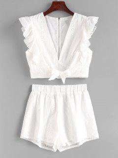 Conjunto De Pantalones Cortos Con Ojales Con Nudos De Volantes - Blanco S
