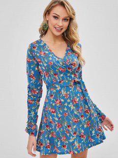 Long Sleeve Floral Wrap Dress - Cornflower Blue S