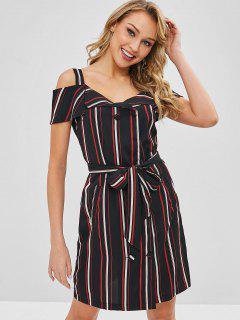 Double Breasted Stripes Cold Shoulder Dress - Multi L