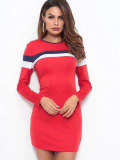 Striped Long Sleeves Bodycon Dress - Red S