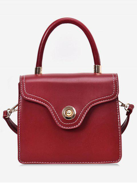lady Contrast Stitching Crossbody Bag - RED  Mobile