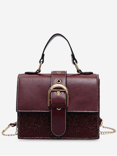 shop Sequin PU Square Crossbody Bag - RED  Mobile