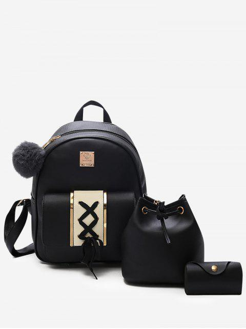 women's 3Pcs Lace Up Design PU Leather Backpack - BLACK  Mobile