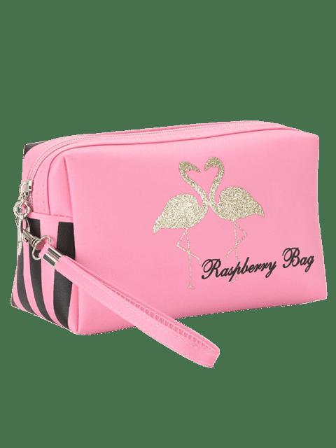 affordable Flamingo Printed Striped Makeup Bag - PINK  Mobile