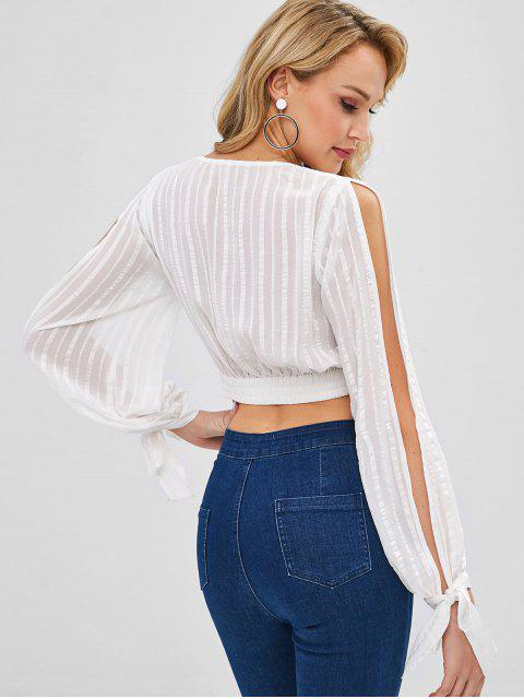 womens ZAFUL Split Sleeves Shadow Striped Crop Blouse - WHITE XL Mobile