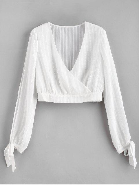 buy ZAFUL Split Sleeves Shadow Striped Crop Blouse - WHITE S Mobile