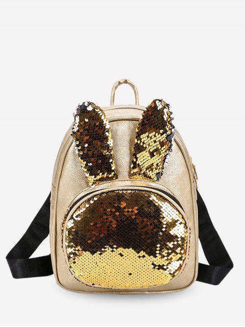 affordable Solid Rabbit Sequin Backpack - GOLD  Mobile