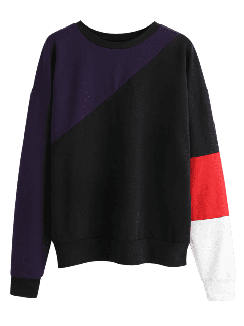 best ZAFUL Pullover Colorblock Sweatshirt - MULTI XL Mobile
