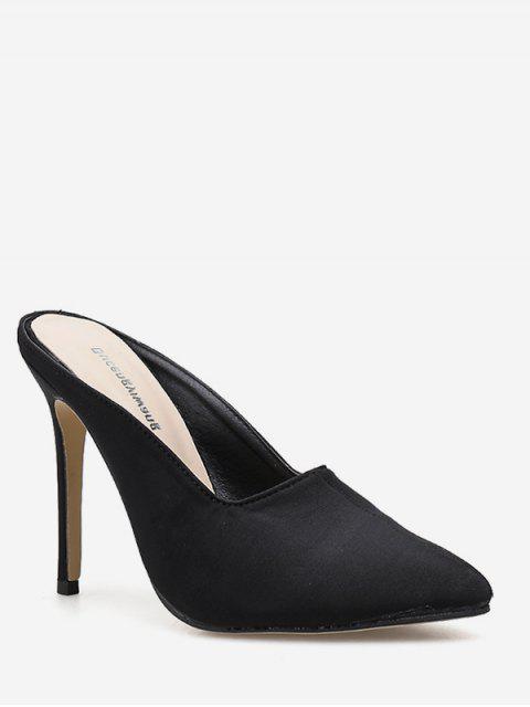 new Pointed Toe Stiletto Heel Slingback Pumps - BLACK EU 37 Mobile