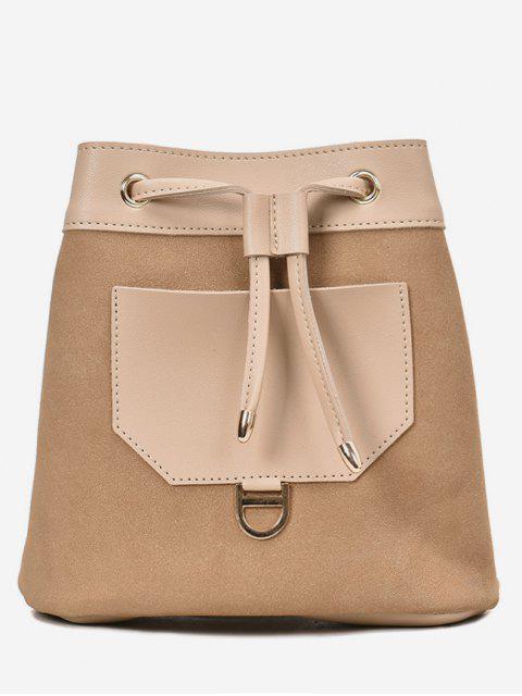 women's Frosted Pocket Drawstring Bucket Single Shoulder Bag - LIGHT KHAKI  Mobile