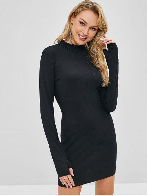 trendy Knitted High Neck Fitted Dress - BLACK L Mobile