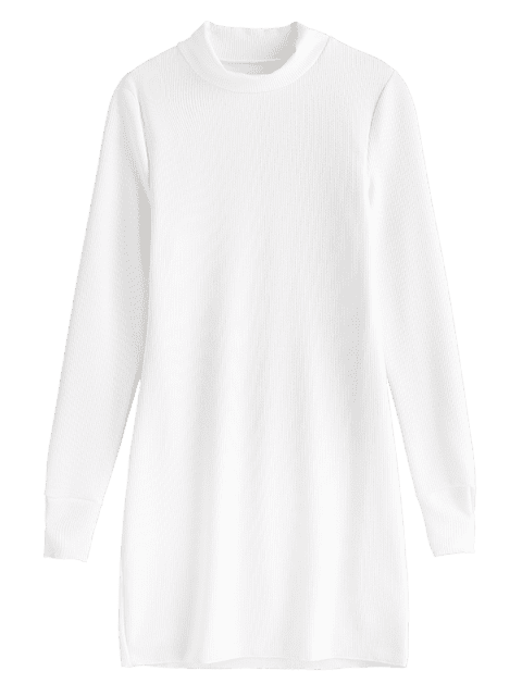 online Knitted High Neck Fitted Dress - WHITE M Mobile