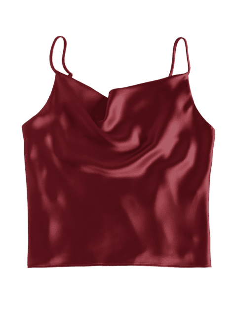 unique Satin Oversized Cami Tank Top - RED WINE L Mobile