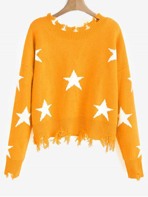 womens ZAFUL Cropped Frayed Stars Sweater - BEE YELLOW ONE SIZE Mobile