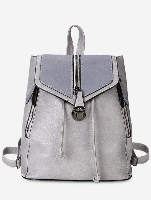 women Solid Color PU Leather Drawstring Backpack - GRAY CLOUD  Mobile