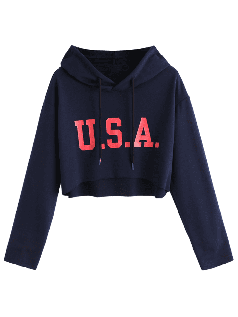 outfit ZAFUL Letter Graphic Crop Raw Hem High Low Hoodie - MIDNIGHT BLUE S Mobile