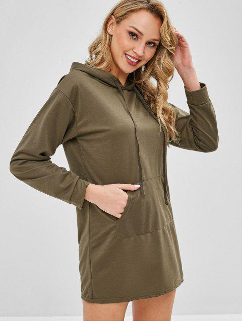 Robe à Capuche Simple avec Poche Kangourou - Kaki L Mobile