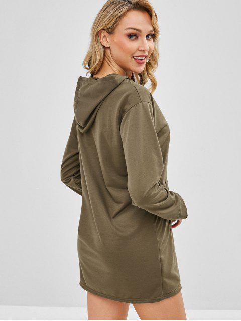 trendy Kangaroo Pocket Plain Hoodie Dress - KHAKI S Mobile