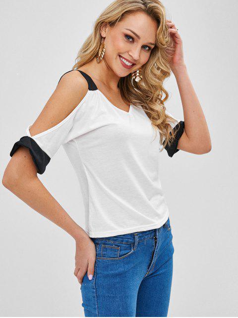 T-shirt Bicolore à Epaule Dénudée - Blanc S Mobile