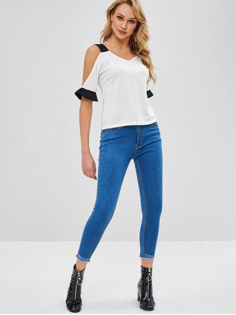 fancy Cold Shoulder Two Tone Tee - WHITE M Mobile