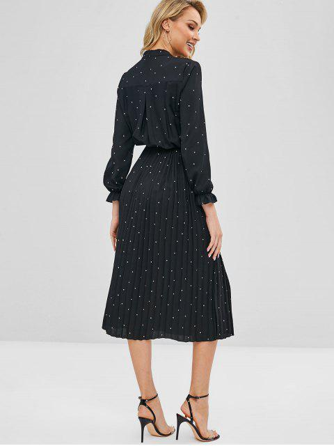 shop Polka Dot Pleated Tie Neck Dress - BLACK S Mobile