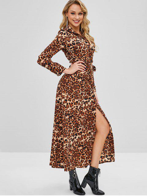 outfits Belted Long Sleeve Leopard Shirt Dress - LEOPARD S Mobile