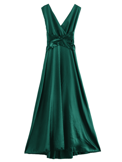online Satin Criss Cross Party Maxi Dress - SEA TURTLE GREEN S Mobile