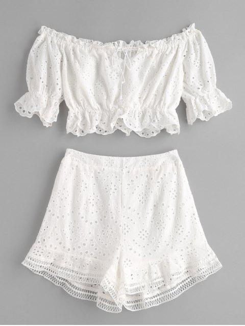 Conjunto de pantalones cortos con ojales y volantes fuera del hombro - Blanco S Mobile