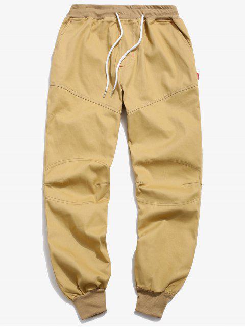 fancy Solid Seam Detail Jogger Pants - KHAKI XS Mobile